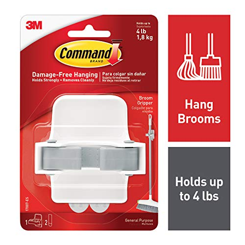 Command Broom Holder Wall Mount White Easy On Easy Off