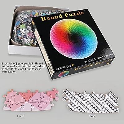 Coogam 1000 Pezzi Rotonda Puzzle Creativo Arcobaleno Difficile Grande Jigsaw Puzzle Educativo Giocattolo Antistress Per Adulti Bambini
