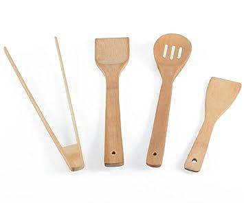 Kochbesteck  Küchenhelfer Set 4-teilig. Kochbesteck aus naturbelassenem Bambus ...