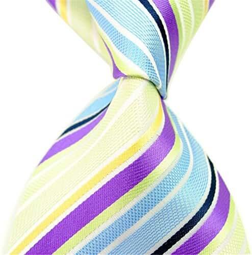 Allbebe New Stripes Purple Blue Jaquard Woven 100% Silk Mens Tie Student Necktie