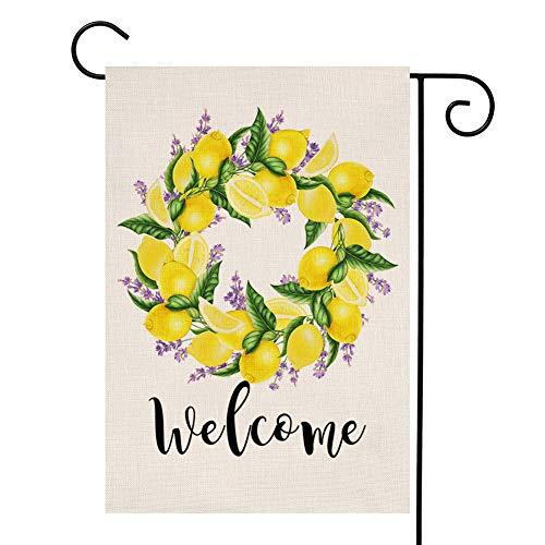 YOENYY Lemon Lavender Wreath Small Garden Flag Welcome Farmhouse Burlap Vertical Double Sided Yard Decoration 12.5 x 18 ()