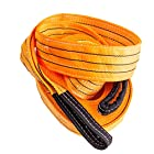 Extra Heavy Duty Tow Strap 35,000lbs, 30′ x 3.5″, With Velcro Storage Strap, Super Strong Width Ply and Length Combination for the Toughest Towing Jobs