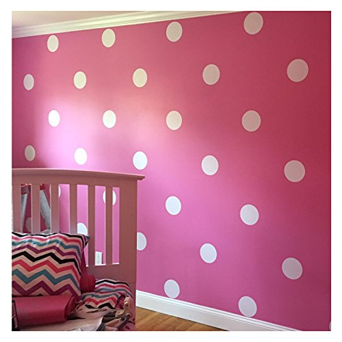 (6x6 Set of 24 Polka Dot Circles vinyl lettering decal home decor wall art saying)