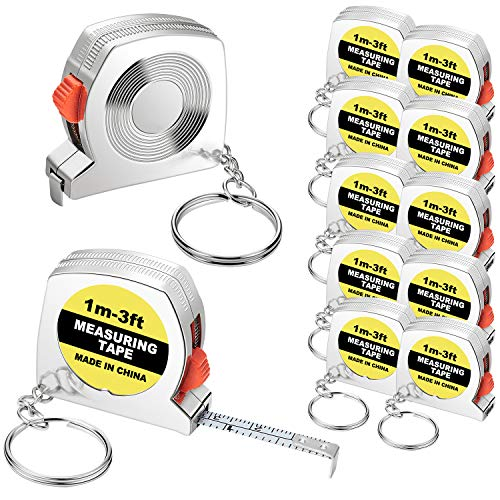 Tape Measure Keychains Functional Mini Retractable Measuring Tape Keychains with Slide Lock for Birthday Party Favors and Daily Use, 1 m/ 3 ft (20)