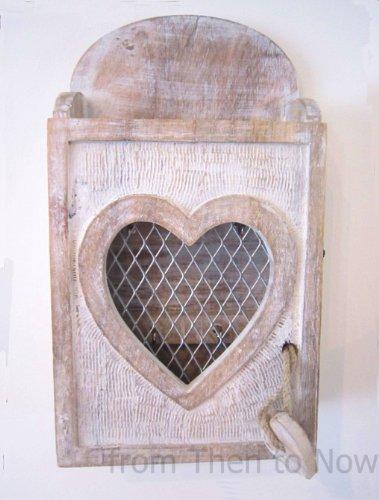 Scatola portachiavi da parete, a forma di cuore, in legno, stile ...