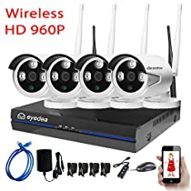 Eyedea PIR WiFi Wireless Video Audio Doorbell Smart Home Security Camera Motion Sensor Tamper Alarm iOS & Android APP, IR Night Vision, Cloud Storage, Video & Speaker System (4CH 960P WiFi System)