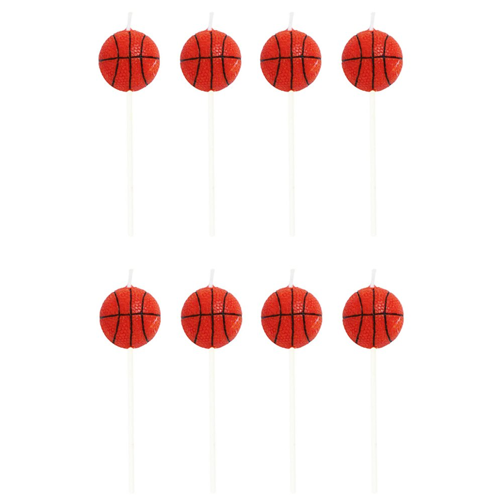 Creative Converting Sports Fanatic Basketball Shaped Pick Candles - 8 Pack,Orange,3 inches tall