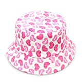 Opromo Kids Cotton Twill Canvas Bucket Hat - Sun Protective Bucket Hat-Heart Pink-48 PCS