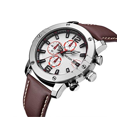 MEGIR Mens Sport Military Watch,Pilot Multifunction Luxury Leather Quartz Chronograph Wristwatches,Luminous Waterproof Business Office Work School Outdoor Watches for Men (Military Chronograph Pilot Watch)