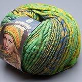 Lana Grossa Olympia 041 grün-gelb-blau 100g Wolle