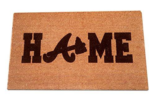 "- ATLANTA BRAVES Home Laser Engraved Coir Fiber Welcome Doormat 30"" x 18"""