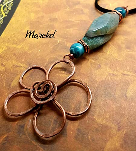 Hammered Flower Necklace Oxidized Copper Blue Green Agate