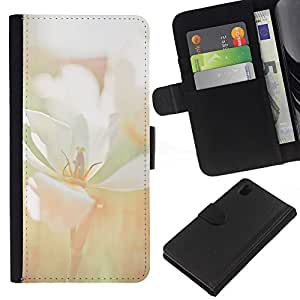 Sony Xperia Z1 / L39h / C6902 Modelo colorido cuero carpeta tirón caso cubierta piel Holster Funda protección - Flower Blossom White Field Summer