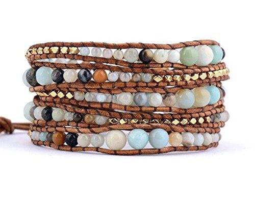Amazonite Bracelet Beaded Leather Wrap