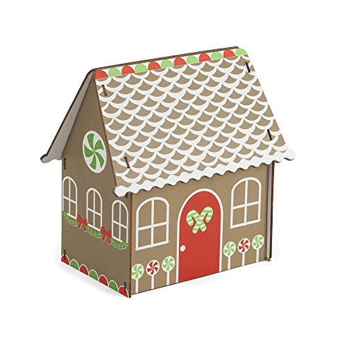 - Holiday Christmas 6 Piece Poplar Wood Traditional Gingerbread House Easy DIY Kit Decoration Display, Brown, Red, Green, White, 7.5