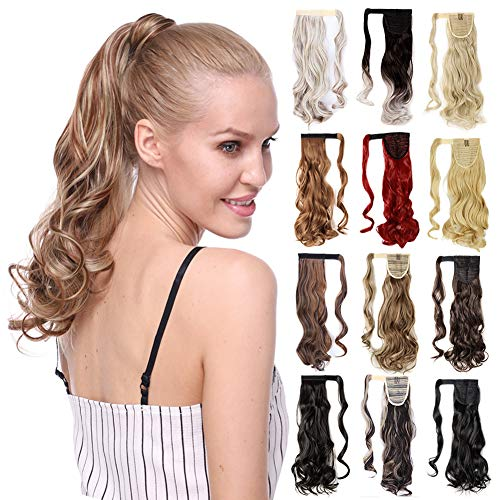 23-26 Inch Straight 17-24'' Curly Wavy Wrap Around Ponytail Hair Extension Clip in One Piece SyntheticHairpiece for Women Black Brown Blonde Red Ombre (Brown Hair With Red And Blonde Streaks)