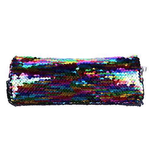 XYanXXX 1Pc Pencil Case,OShiny Sequins Zipper Pencil Pen Bag Office Storage Organizer Coin Pouch Cosmetic Bag Multicolor -