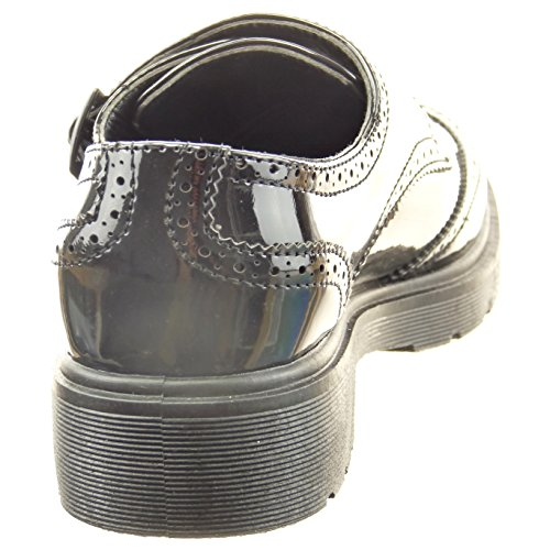 Sopily - damen Mode Schuhe Derby-Schuh Fertig Steppnähte Patent Schleife - Schwarz