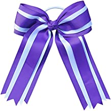 Large Cheer Cheerleading Grosgrain Ribbon Bow Elastic Pony Holder (Purple & White)