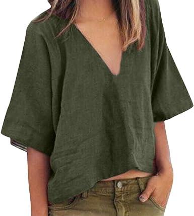 Summer Women Short Sleeve V Neck Casual Linen Top Ladies T-shirt Oversize Blouse