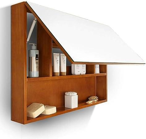 Espejos Mueble de baño Espejo Espejo de Madera sólida Caja de Pared del baño Armario ropero se Puede Personalizar Espejos de Aumento de Pared (Color : Brown, Size : 80 * 13.5 * 65cm): Amazon.es: Hogar