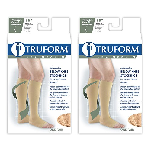 Truform Anti-Embolism 18 mmHg Knee High Open Toe Stockings, Beige, Large – Short, 2 Count