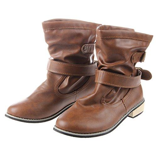 women Boots - TOOGOO(R)women round head Low heel belt buckle Boots Brown 39 wDJZKZmV
