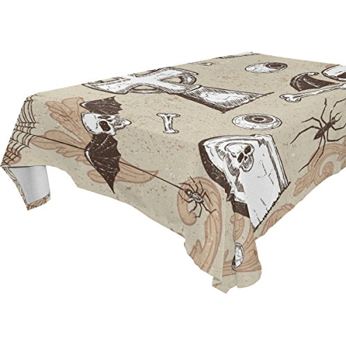 [ZOEO 100% Fabric Polyester Tablecloth,Happy Halloween Cute Ghost Pumpkin Skull Spooky Cemetery Bat Witch Spiderweb,Everyday Table Cover For Restaurant,Kitchen,Party &] (Cute Halloween Ghost Clip Art)