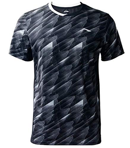 Badminton Clothing - LI-NING Men Badminton Competition T-Shirts Jersey 88% Polyester 12% Spandex Teamwear Lining at Dry Basic Sports Tees Black AAYP063 Size XL