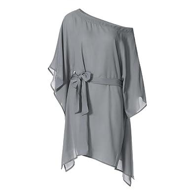 Chiffon Mini Dress + Belt,Clearance! AgrinTol Women Casual Chiffon Strapless Irregular Ultra Loose