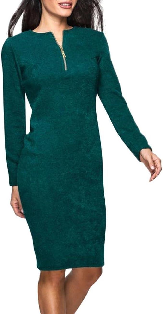 Longra Damen Kleider Bleistiftkleid V-Ausschnitt Etuikleid Langarm Retro  Business Kleid mit Zipper Damen Elegante Festliche Kleider Abendkleid
