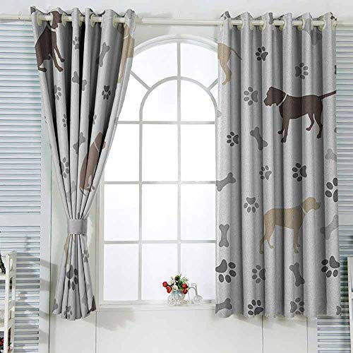 Blackout Curtains 2 Panels Dog Lover,Paw Print Bones and Dog Silhouettes American Foxhound Breed Playful Pattern Umber Beige Grey Children's Living Room Bedroom Black Curtain W63 x L45 (The Fox And The Hound 2 Trailer)