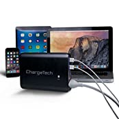 ChargeTech - 27 000mAh BLACK Portable Battery Pack w/ AC Outlet & USB Ports - Universal Power Bank for MacBooks...
