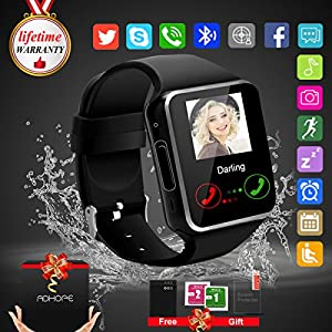 Bluetooth Smart Watch Touchscreen with Camera,Unlocked Watch Cell Phone with Sim Card Slot,Smart Wrist Watch,Waterproof Smartwatch Phone for Android Samsung IOS Iphone 7 Plus (black)