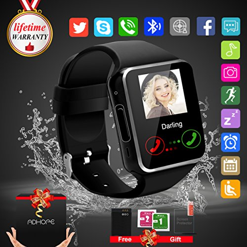 Bluetooth Smart Watch Touchscreen with Camera,Unlocked Watch Cell Phone with Sim Card Slot,Smart Wrist Watch,Waterproof Smartwatch Phone for Android Samsung IOS Iphone 7 Plus (black) (black)