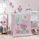 Bedtime Originals Twinkle Toes Jungle Elephant 3 Piece Bedding Set, Pink/White