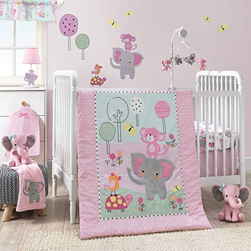 Bedtime Originals Twinkle Toes 3-Piece Crib Bedding Set - Blue, Pink, Gray