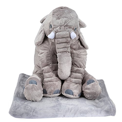 YOOYOO Stuffed Cute Simulation Giant Elephant Plush Doll Toy Pillow with Blanket Birthday Christmas Gift (Light (Adult Red Sequin Shoe Covers)