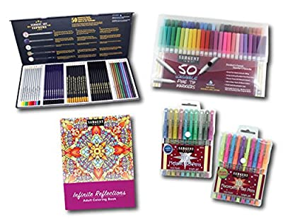 Sargent Art 22-0048 Activity Kit to The Advanced Artist Kit 5Piece Art Activity Set, Colored Pencils, Markers, Gel Pens, Coloring Book