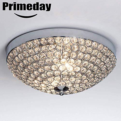 2 Fixture Chandelier - SOTTAE Elegant 2 Lights Crystal Cental Shade Chrome Finish Bedroom Living Room Hallway Kids Room Modern Crystal Chandelier Ceiling Light, Ceiling Chandelier Size 11.8