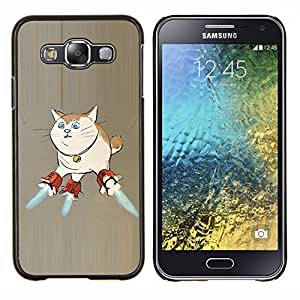 YiPhone /// Prima de resorte delgada de la cubierta del caso de Shell Armor - Gato Nave Espacio de Arte Superpoderes del arte divertido - Samsung Galaxy E5 E500