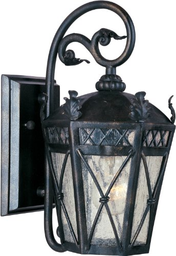 Maxim 30454CDAT Canterbury 1-Light Outdoor Wall Lantern, Artesian Bronze Finish, Seedy Glass, MB Incandescent Incandescent Bulb , 40W Max., Dry Safety Rating, 2900K Color Temp, Standard Dimmable, Glass Shade Material, 3500 Rated Lumens