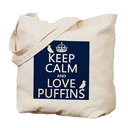 CafePress, motivo: Keep Calm And Love Puffins Tote Bag–Borsa di tela naturale, panno borsa per la spesa