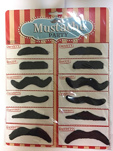 Set of 12 Fake Mustaches, Novelty and Toy, - For Halloween, Parties, Kids, Gift, Favors, Adults, Fun, Birthday, Games, Home, Movember. -Kidsco