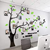 steam resistant adhesive - Unitendo 3D Acrylic Tree Wall Stickers Photo Frames FamilyTree Wall Decal Easy to Install &Apply DIY Photo Gallery Frame Decor Sticker Home Art Decor (Green Leaves-Left, L)