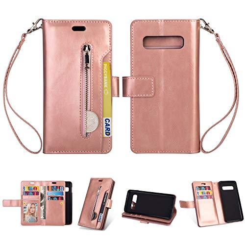 (Yobby Zipper Wallet Case for Samsung Galaxy S10,Rose Gold Phone Case,Slim Luxury Leather PU Flip Cover with 9 Card Holder Magnetic Stand and Strap Shockproof Cover)