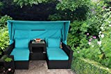 JETIME Outdoor 7PCs Patio Couch with Awning Garden Woven Rattan Furniture PE Wicker Sofa Set Sectional Sofa Turquoise Cushion