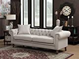 AC Pacific Juliet Collection Contemporary Fabric Upholstered Button Tufted Living Room Chesterfield Sofa, Beige