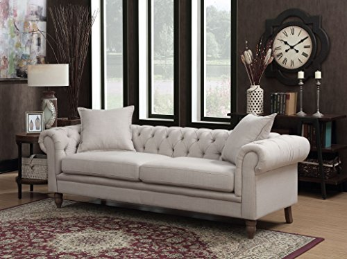 AC Pacific Juliet Collection Contemporary Fabric Upholstered Button Tufted Living Room Chesterfield Sofa, Beige (Upholstered Chesterfield Sofa)