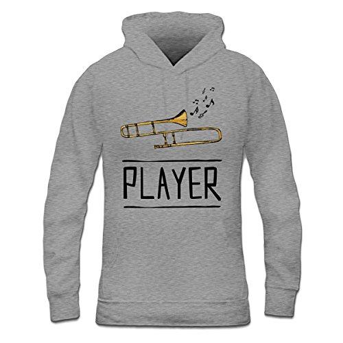 Sudadera con capucha de mujer Trombone Player by Shirtcity Gris granulado